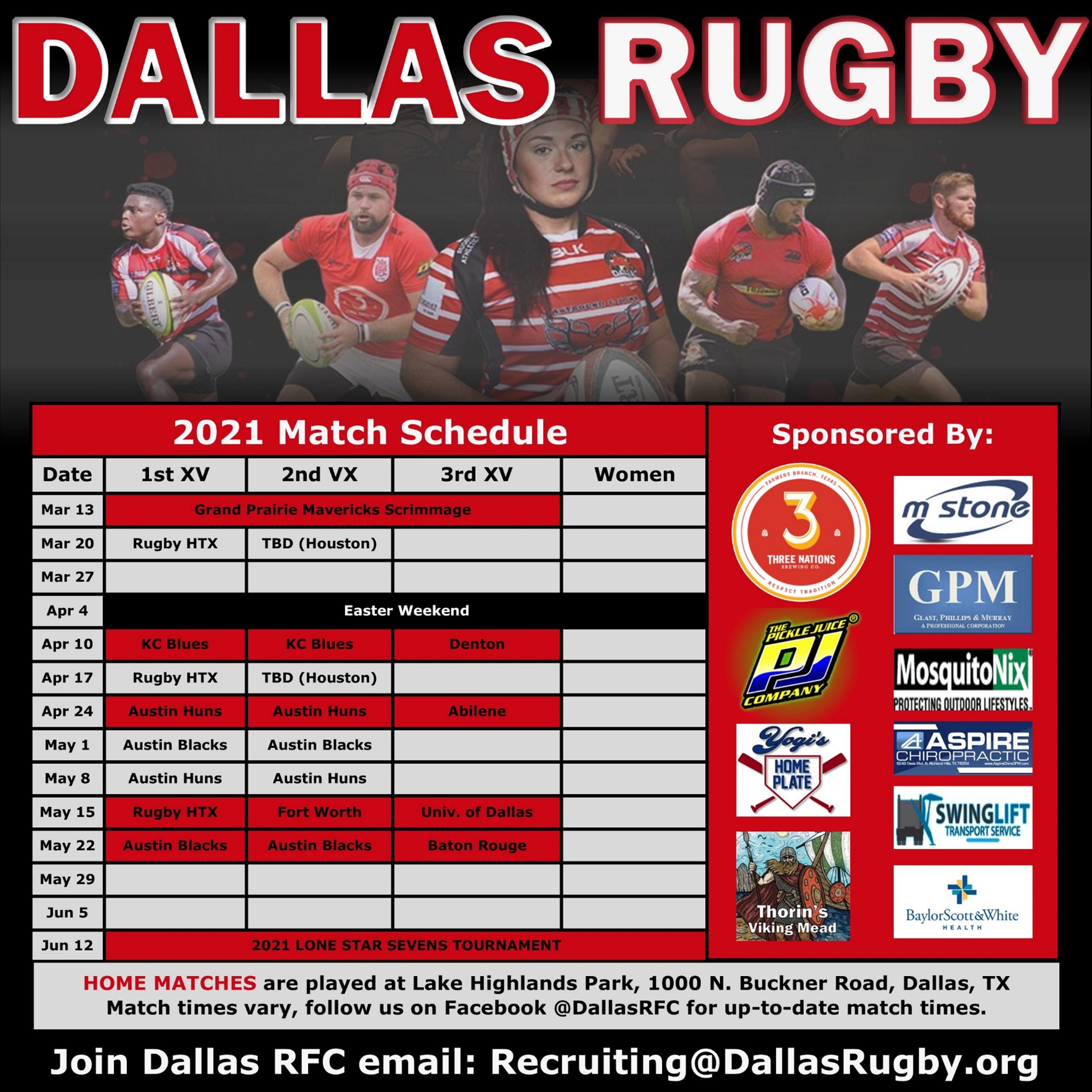 Dallas Rugby's 2021 Schedule