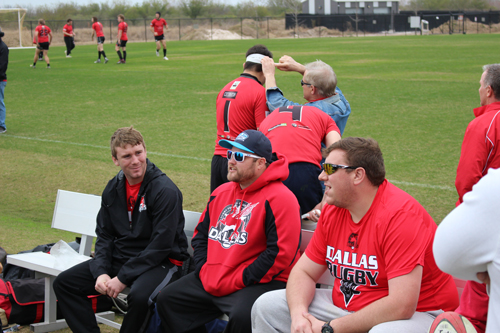 Chris Kelly, Chris Herzog and John Holman mentally prepare while DRFC D2 warm up for HARC