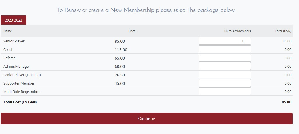 Step 4 of registering with Sportlomo